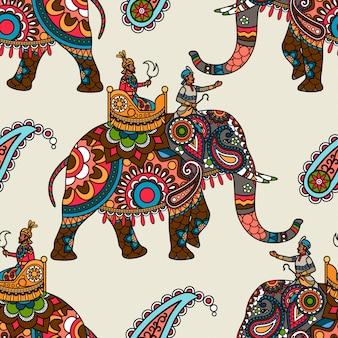 Indischer maharadjah auf nahtlosem hintergrund des elefanten