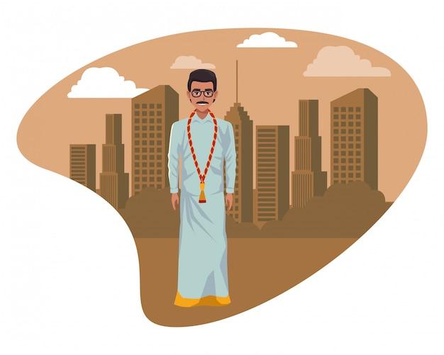 Indischer mann, der traditionelle hinduistische kleidung trägt