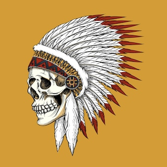 Indischer schädel des vektors. feder und stammes, knochen und skelett, westlicher cowboy