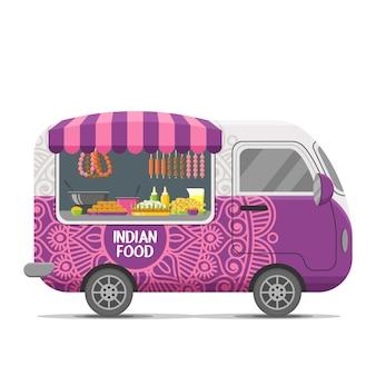 Indischer straßenlebensmittel-wohnwagenanhänger