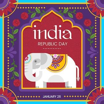 Indischer tag der republik der flachen art mit elefantillustration