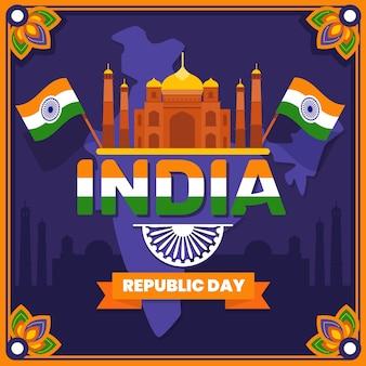Indischer tag der republik des flachen designs mit flaggen