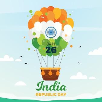 Indischer tag der republik des flachen designs