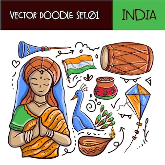 Indischer tag der republik-gekritzel-ikonensatz