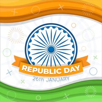 Indischer tag der republik-hintergrund des flachen designs