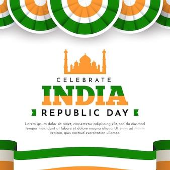 Indischer tag der republik im flachen design mit taj mahal und flagge