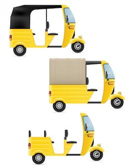 Indischer taxitransport der bewegungsrikscha tuk-tuk