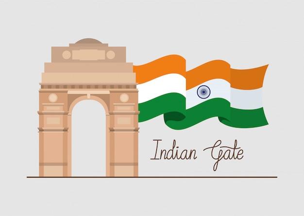 Indischer tortempel mit flagge