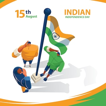 Indischer unabhängigkeitstag hommage an die flagge des landes