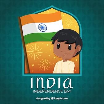 Indischer Unabhängigkeitstaghintergrund mit Jungen