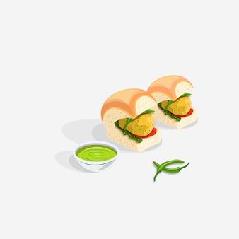 Indischer vada pav snack