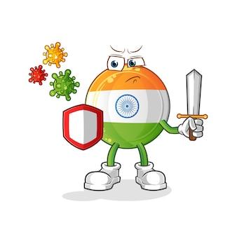 Indisches abzeichenmaskottchen gegen virenkarikatur