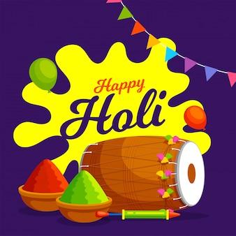 Indisches fest der farben, happy holi illustration mit farbpulver, traditionellen musikinstrumenten und luftballons.