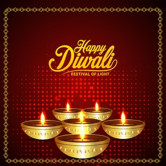 Indisches fest der glücklichen diwali-feier-grußkarte