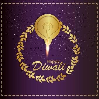 Indisches festival fröhliche diwali-feier-grußkarte
