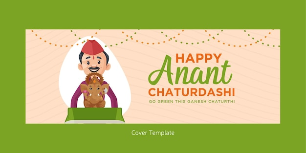 Indisches festival fröhliches anant chaturdashi facebook-cover-design