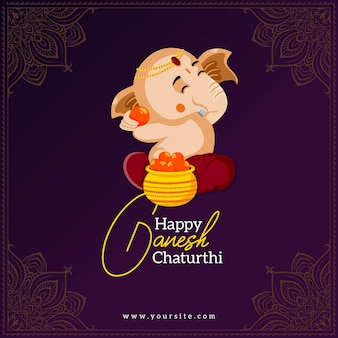 Indisches festival ganesh chaturthi banner design