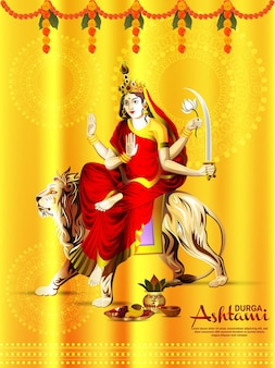 Indisches festival glücklich durga puja mit vektor-illustration der göttin durga