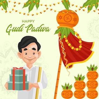 Indisches festival glücklich gudi padwa banner design