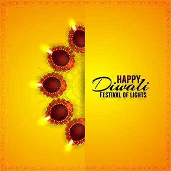 Indisches festival glückliche diwali-feier-grußkarte mit diwali-öllampe