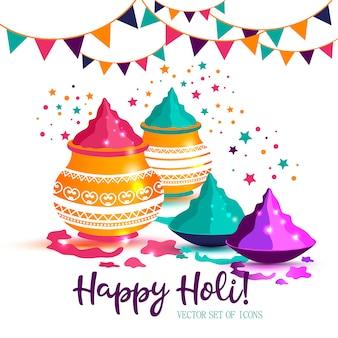 Indisches festival glücklicher bunter vektorillustration holis.