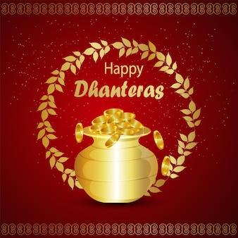 Indisches festival glücklicher dhanteras feierhintergrund mit goldmünzentopf