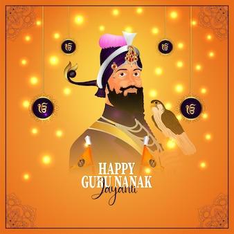 Indisches festival glücklicher guru nanak jayanti hintergrund