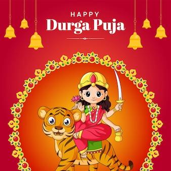 Indisches festival glückliches durga-puja-banner-design