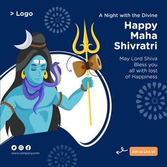 Indisches festival glückliches maha shivratri banner-design