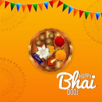 Indisches festival happy bhai dooj feier grußkarte mit kreativem pooja thali und kalash