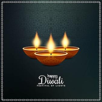 Indisches festival happy diwali mit diya