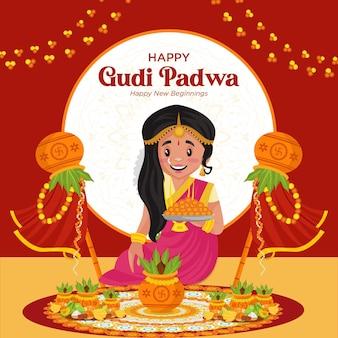Indisches festival happy gudi padwa social media banner