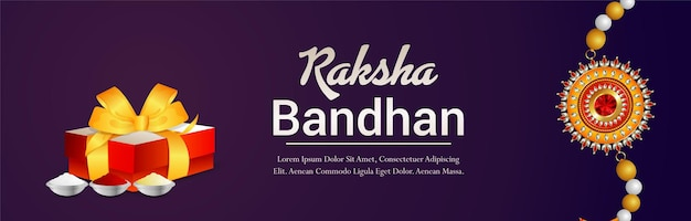 Indisches festival happy raksha bandhan feier banner oder header