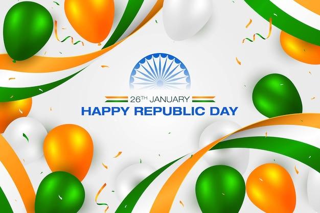 Indisches flaggenkonzept republic day trio färbt luftballons