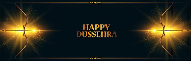 Indisches glückliches dussehra festivalbanner mit leuchtendem pfeil- und bogenvektor
