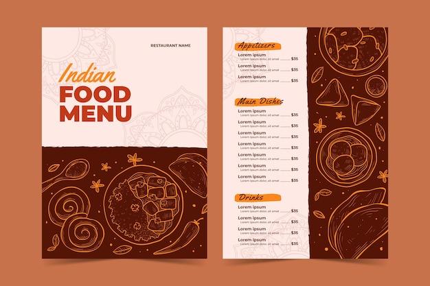 Indisches menü mit handgezeichneten details