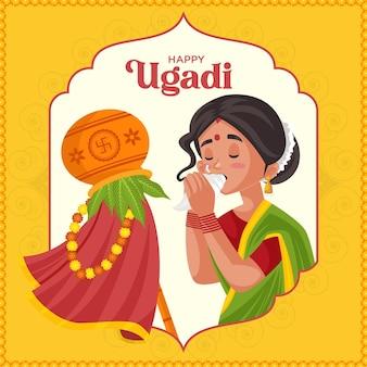 Indisches neujahrsfest ugadi grußkarten-design