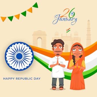Indisches paar, das namaste (willkommen) mit berühmten denkmälern anlässlich des 26. januar tut