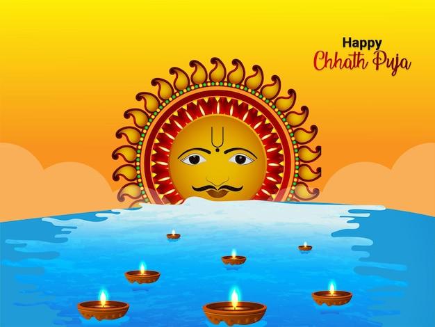 Indisches religiöses festival glücklicher chhath puja feierhintergrund