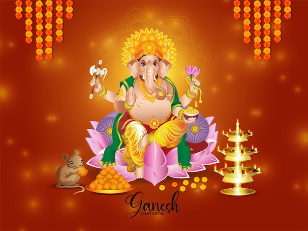 Indisches religionsfest fröhliche ganesh chaturthi feier grußkarte