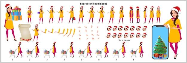 Indisches santa girl character design modellblatt mit laufzyklus, lippensynchronisation, weihnachtsbaum und geschenk