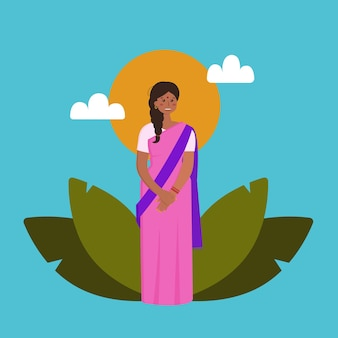 Indisches schönes mädchen in einem rosa sari