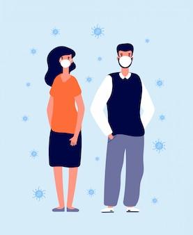 Individueller virenschutz. medizinische masken, schutzkleidung. prävention grippe, krankheit oder umweltverschmutzung. mensch in maskenillustration
