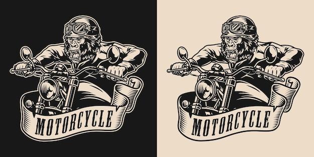 Individuelles motorrad-vintage-label im monochromen stil mit gorilla-biker, der motorrad fährt