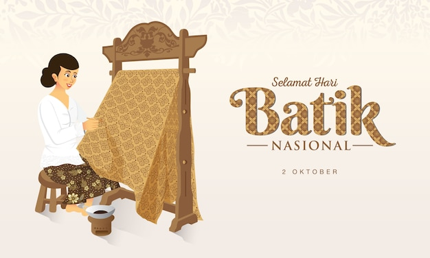 Indonesian holiday batik day illustration.translation: