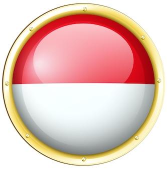 Indonesien-flagge im runden rahmen