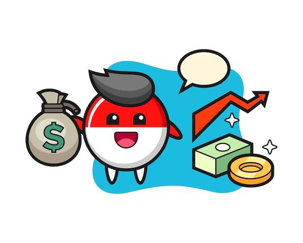 Indonesien-flaggenabzeichen-illustrationskarikatur, die geldsack hält