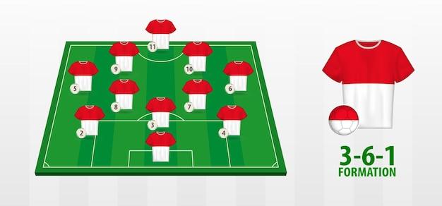 Indonesien-fußball-nationalmannschaft-bildung auf fußballplatz.