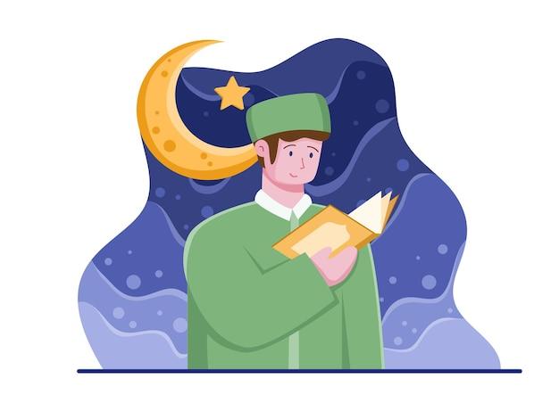 Indonesien hari santri nasional illustration mit muslimischer person, die alquran . liest