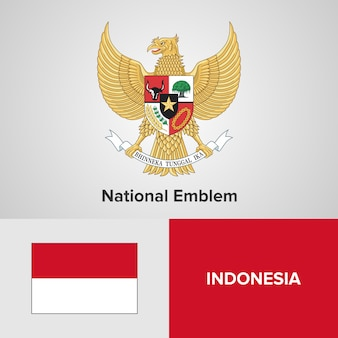 Indonesien national emblem und flagge